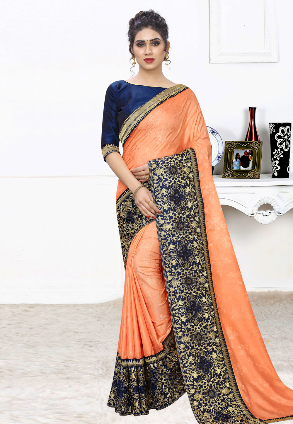 Orange Silk Festival Wear Saree 197901