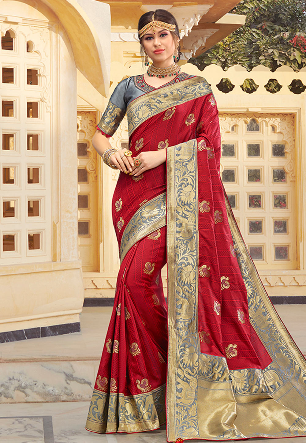 Maroon Silk Festival Wear Saree 199763