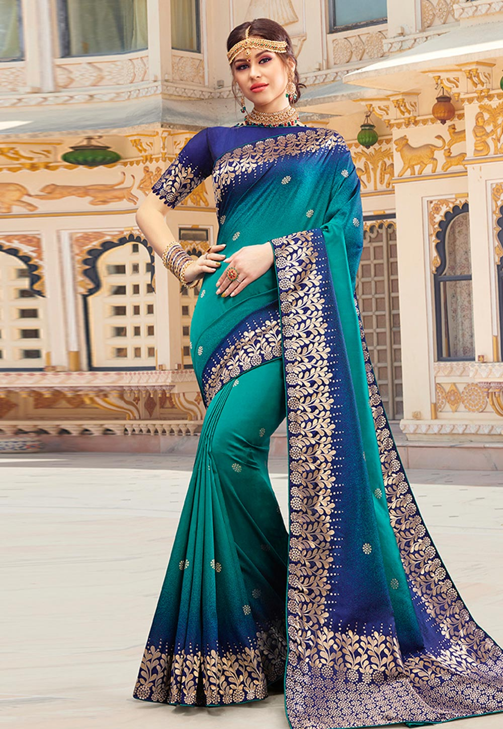 Teal Green Silk Saree With Blouse 199764