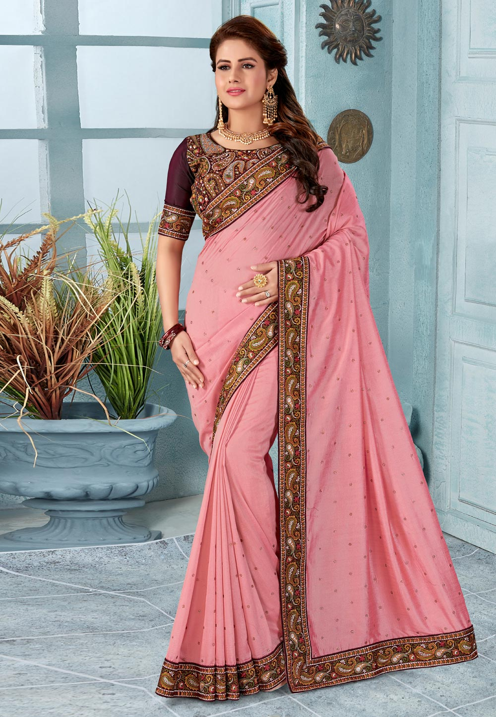 Light Pink Silk Festival Wear Saree 199031