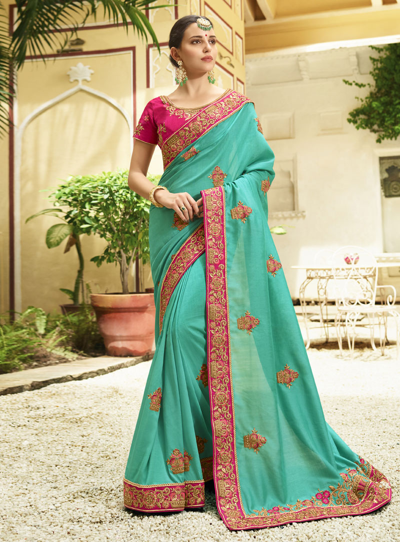 Sea Green Silk Festival Wear Saree 140394