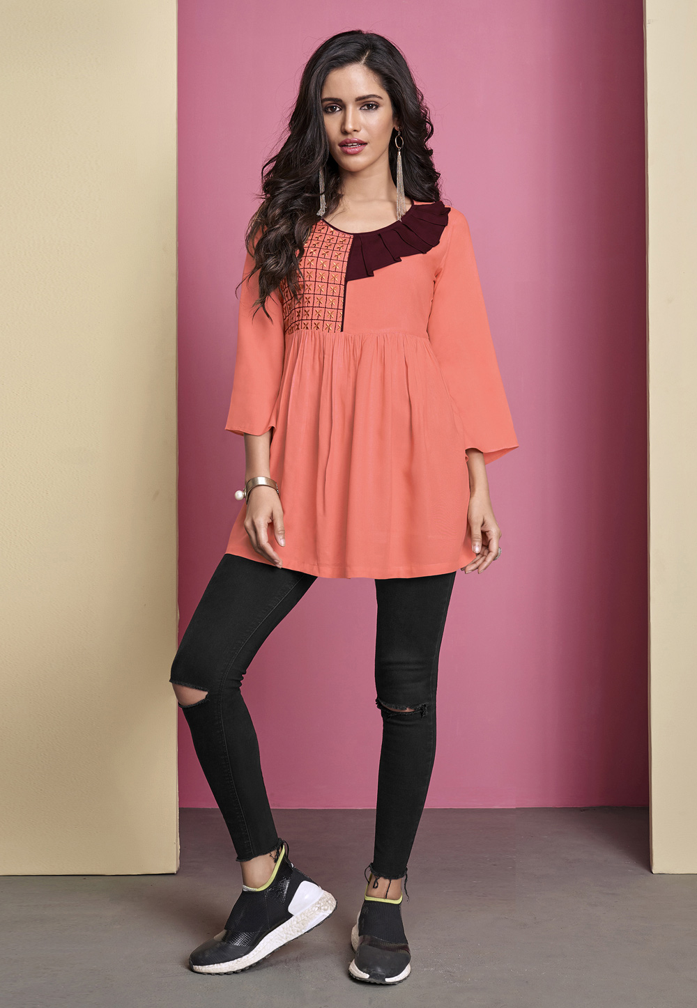 Peach Rayon Readymade Peplum Tops 207351