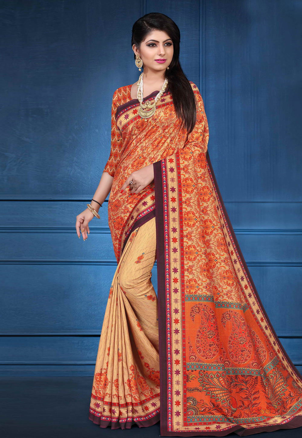 Beige Tussar Silk Printed Saree With Blouse 162561
