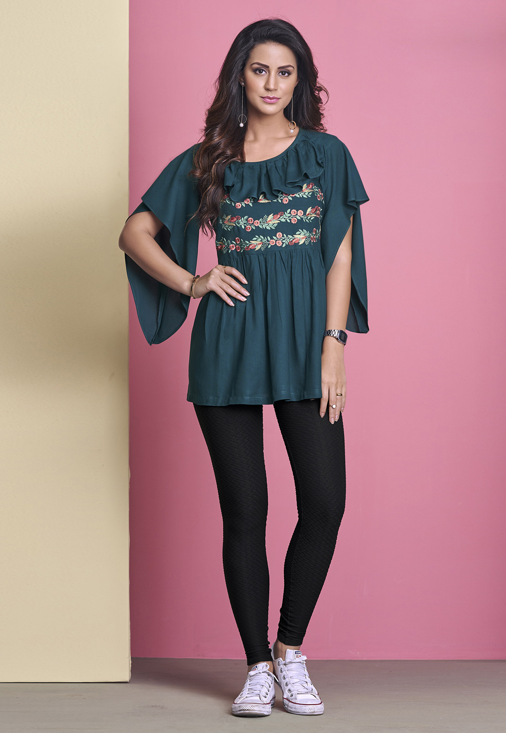 Blue Rayon Readymade Peplum Tops 207362