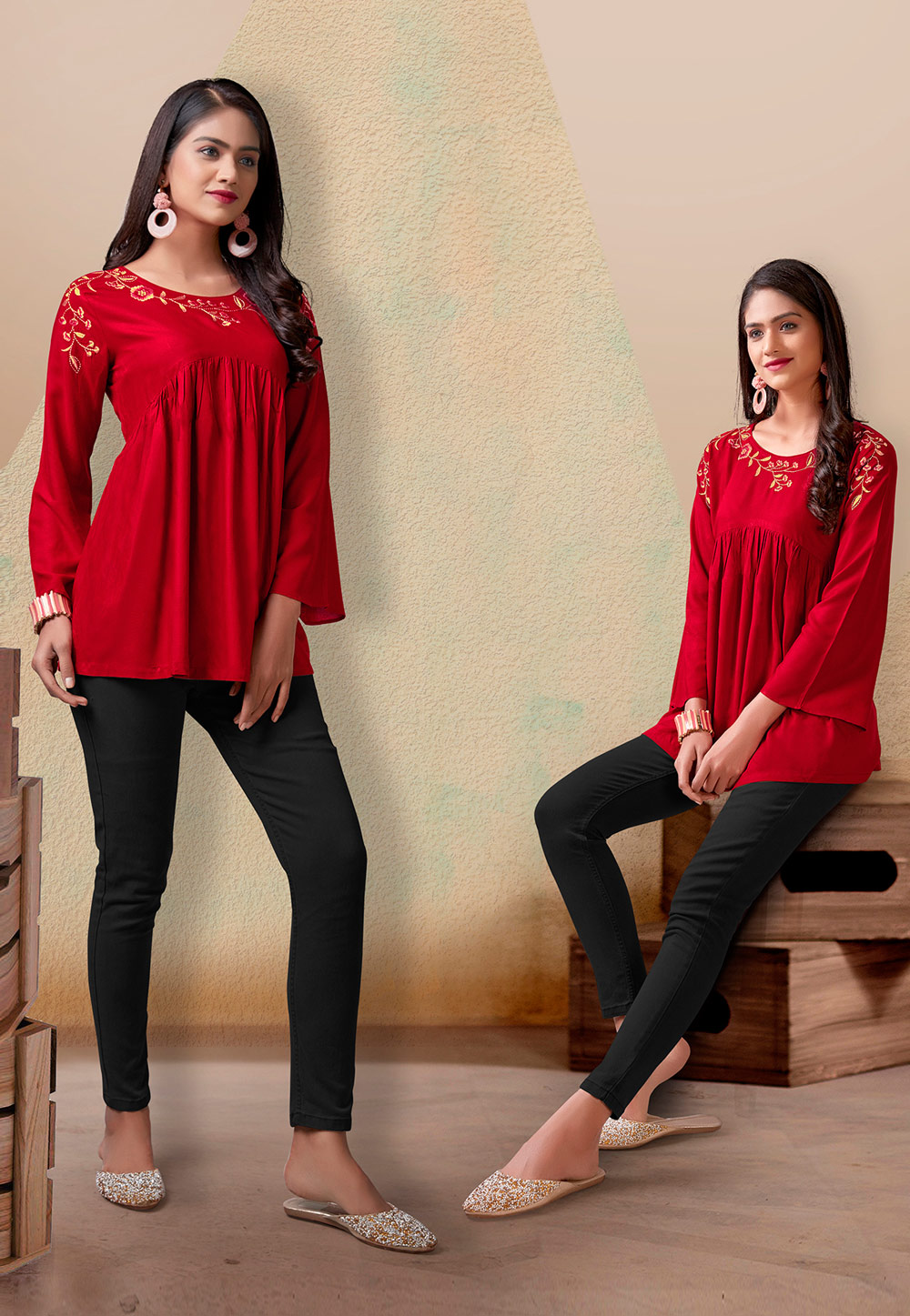 Red Rayon Readymade Western Tops 212426