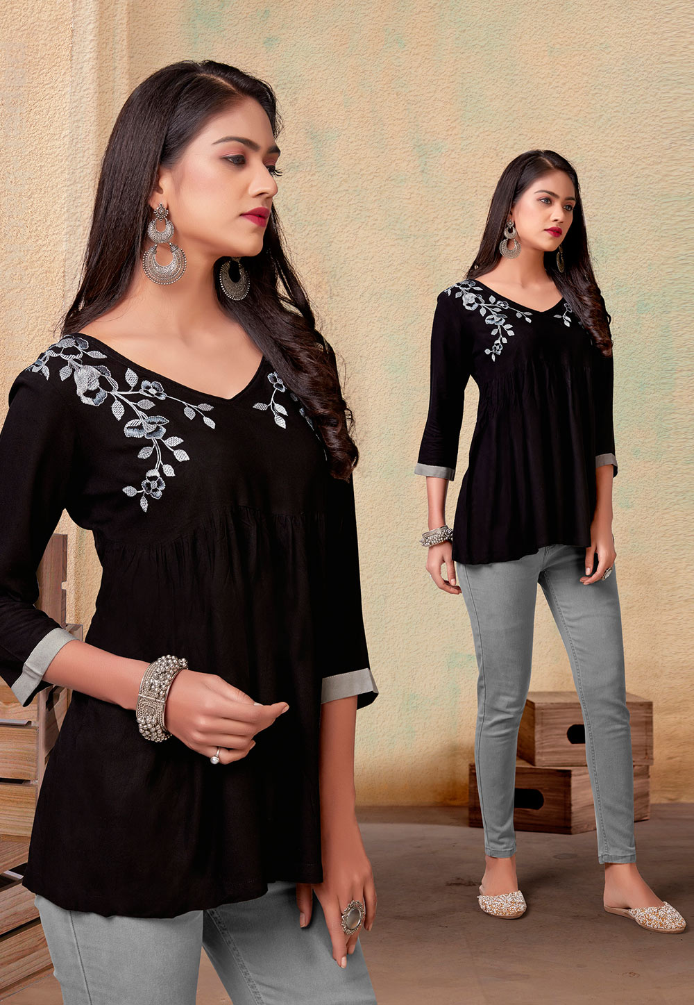Black Rayon Readymade Western Tops 212428