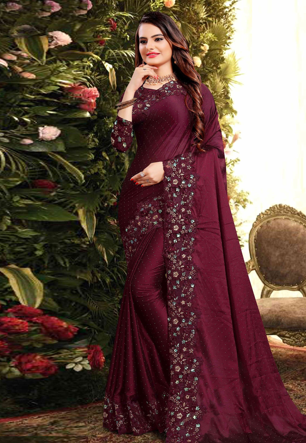 Wine Silk Saree With Blouse 200877