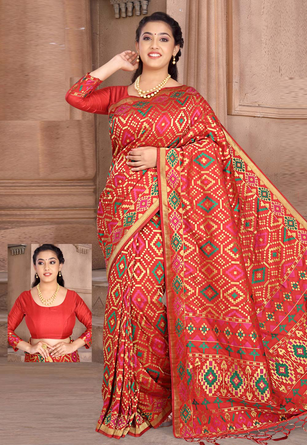 Red Silk Saree With Blouse 202732