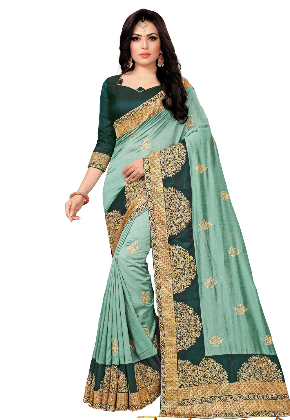 Sea Green Silk Saree With Blouse 201638