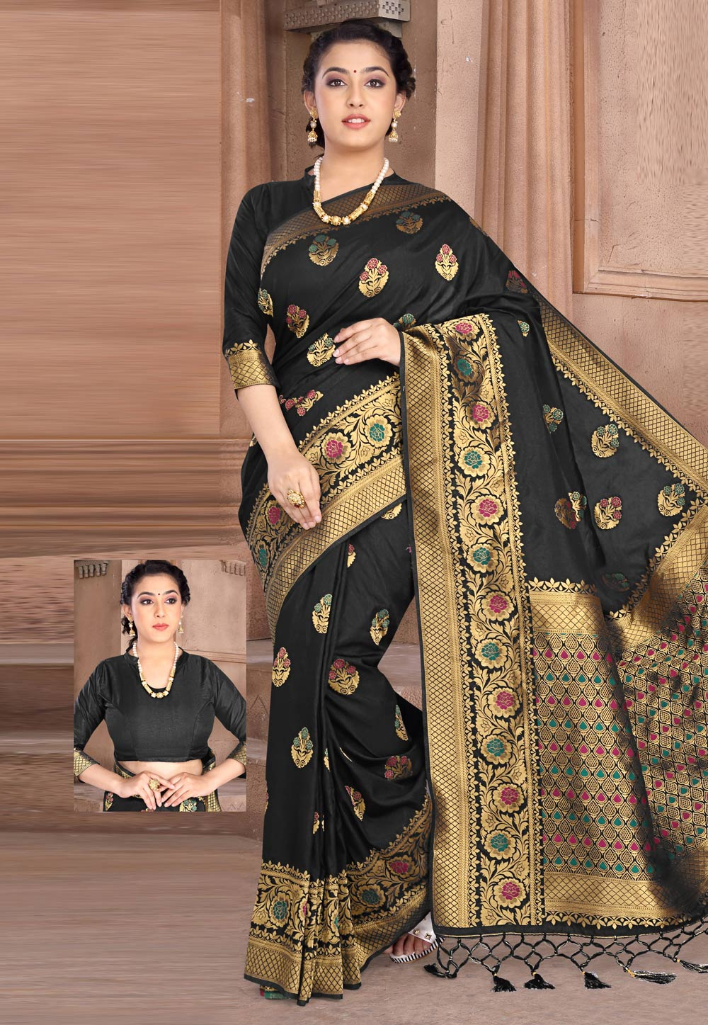 Black Silk Saree With Blouse 202738