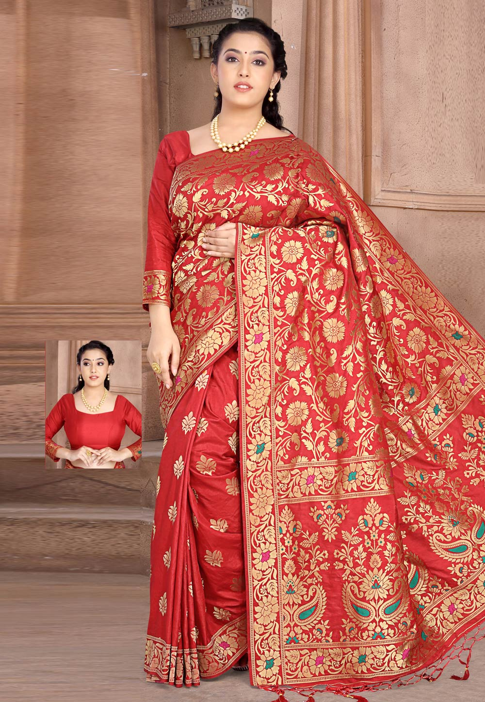 Red Silk Saree With Blouse 202744