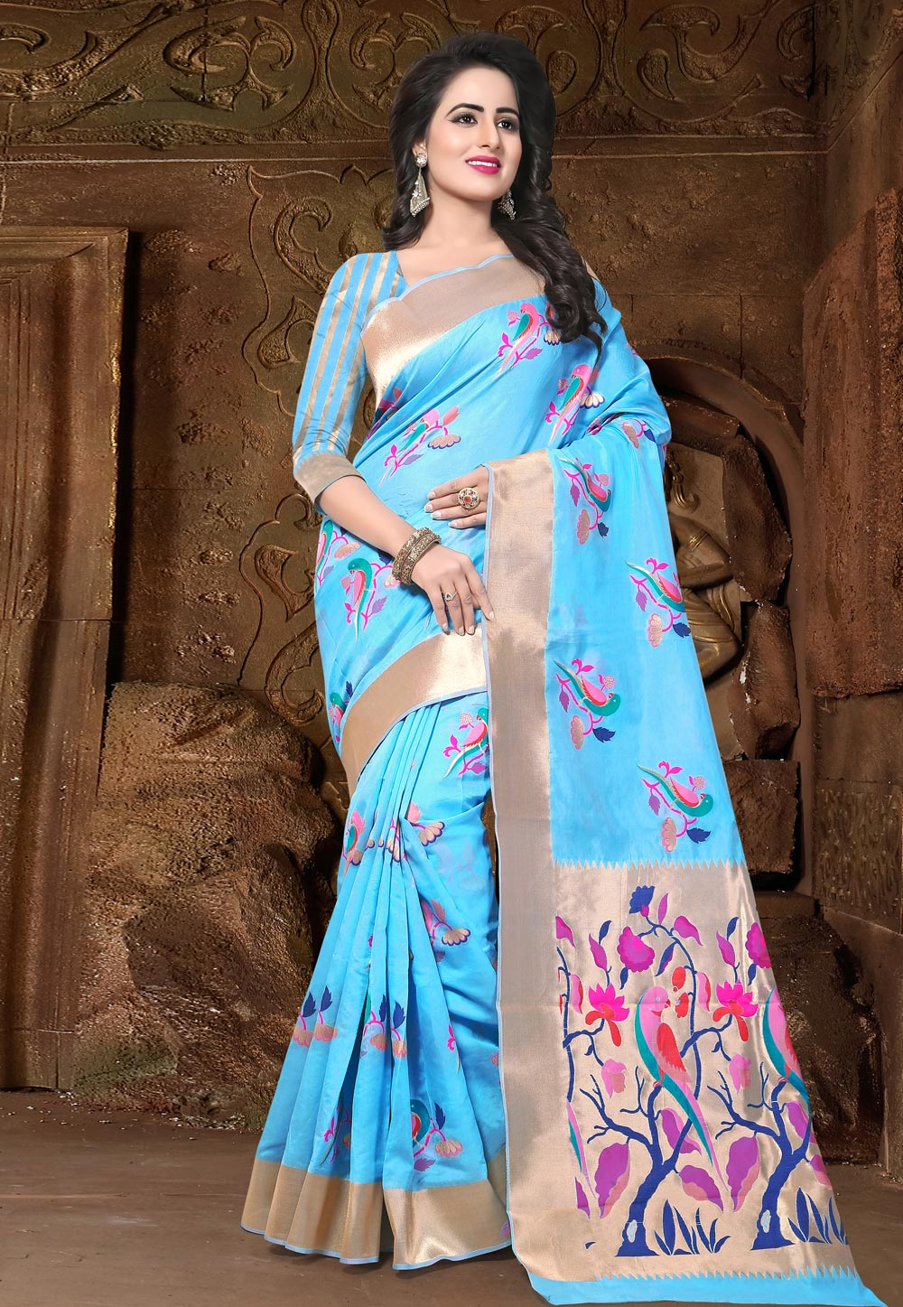 Sky Blue Banarasi Silk Festival Wear Saree 202117