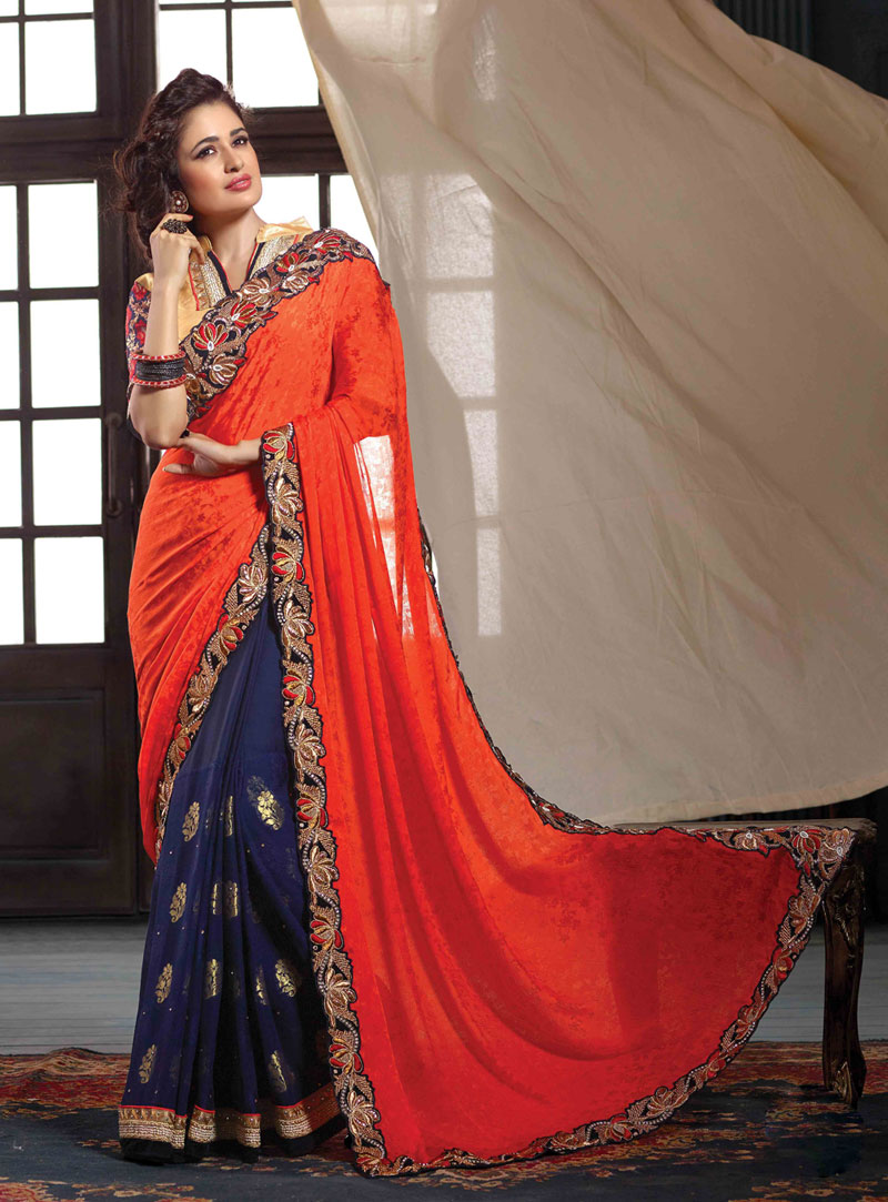 Orange Georgette Jacquard Half and Half Saree 56411