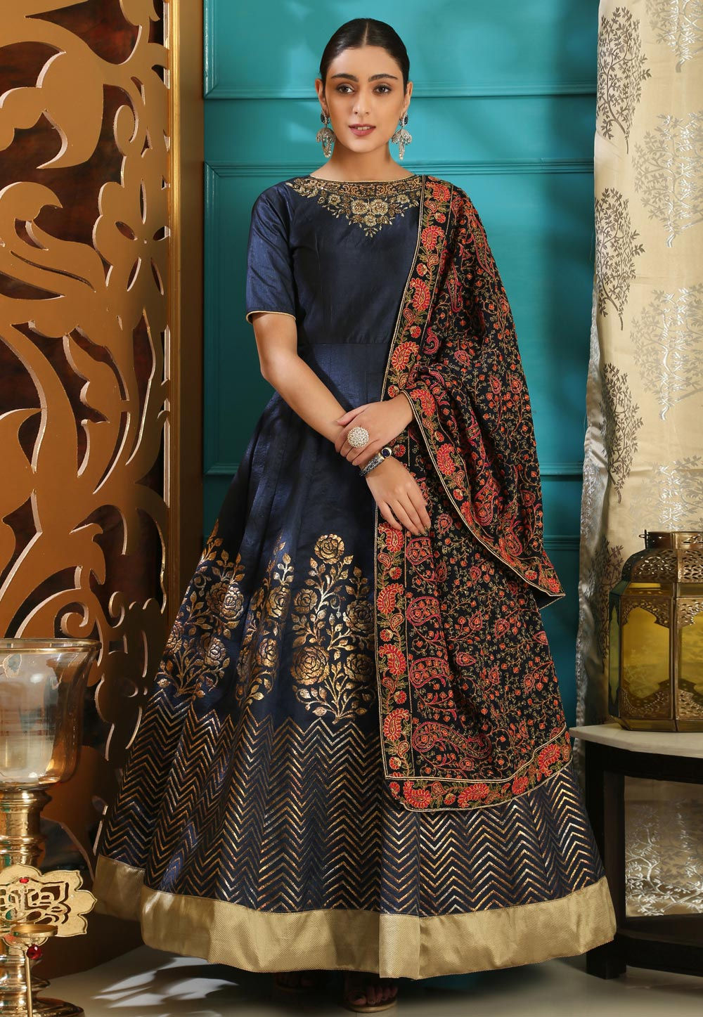 Navy Blue Silk Gown With Dupatta 168662