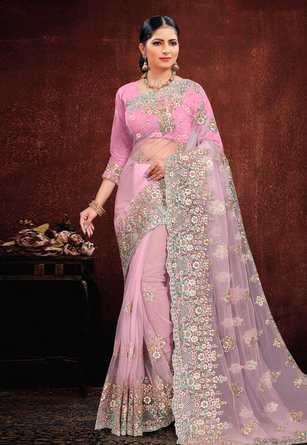 Pink Net Festival Wear Saree 202958