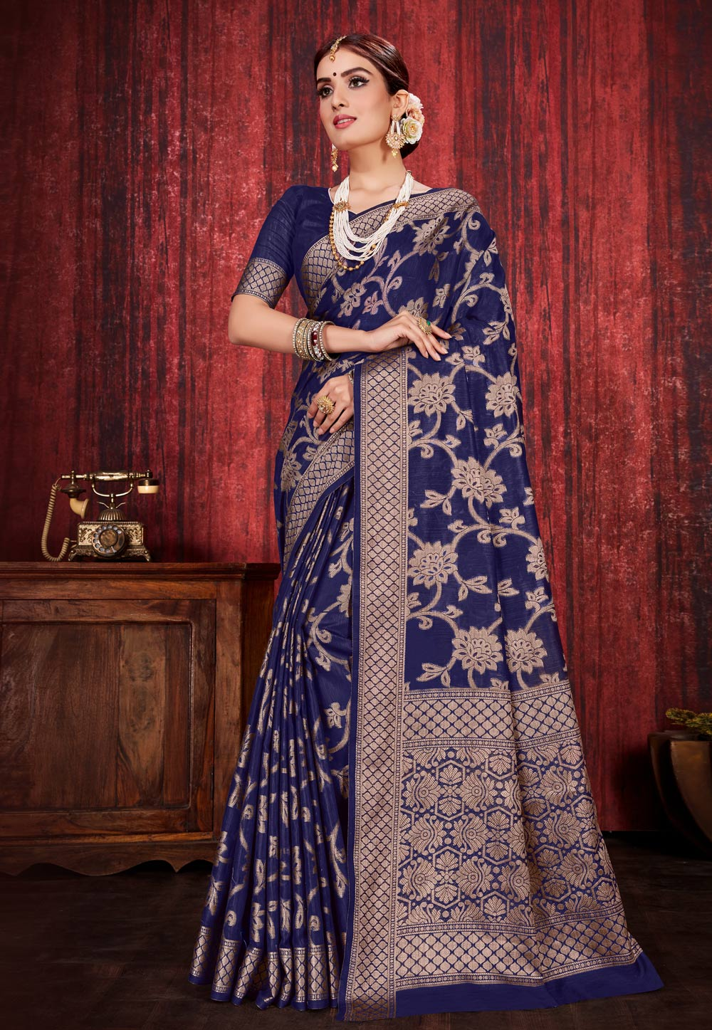 Navy Blue Linen Festival Wear Saree 198617
