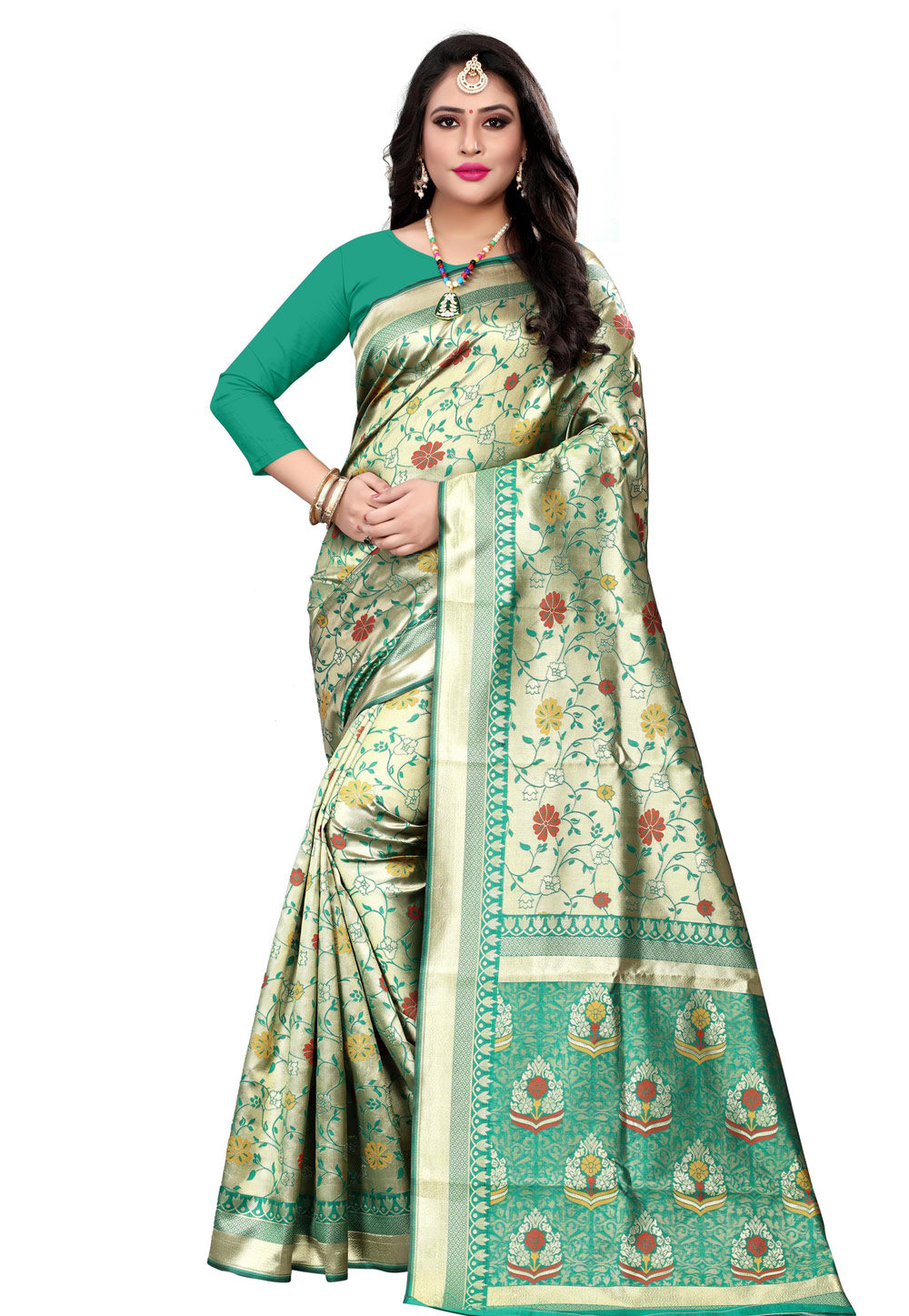 Green Banarasi Silk Saree With Blouse 198562