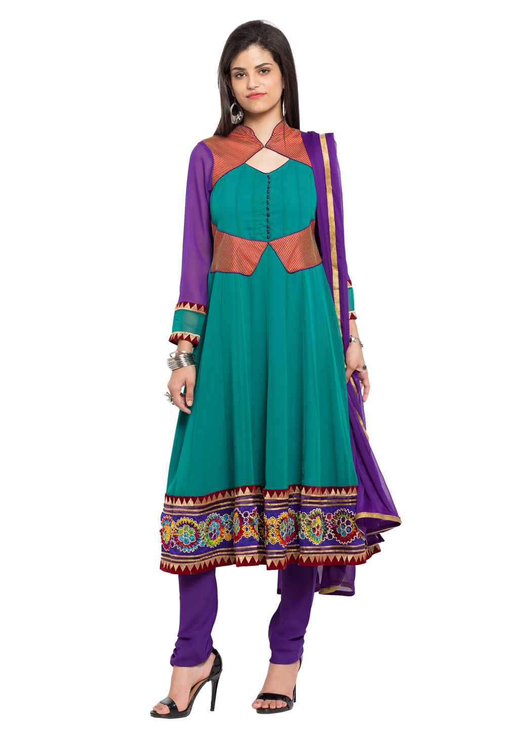 Turquoise Blue Faux Georgette Readymade Anarkali Suit 172679