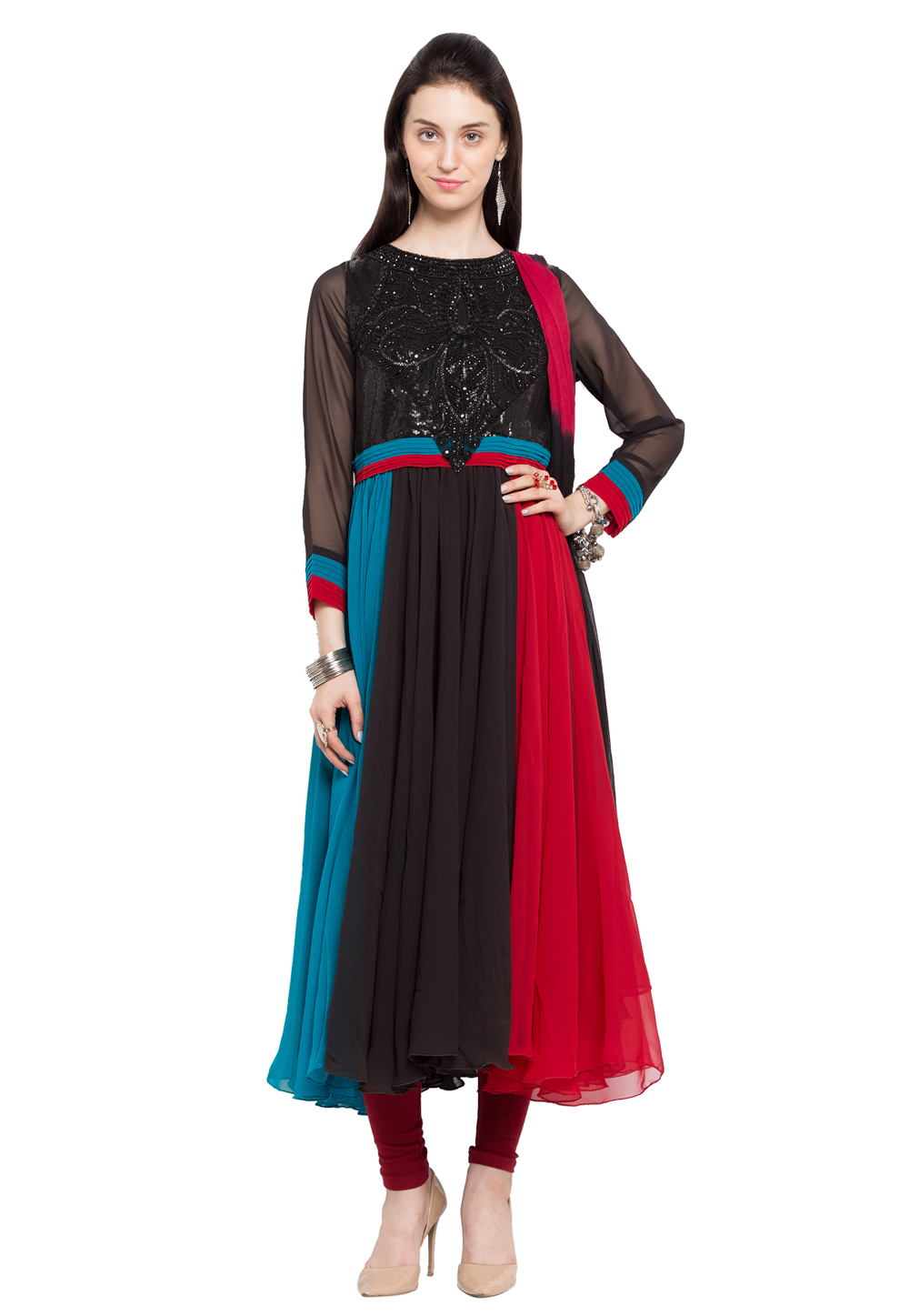 Black Faux Georgette Readymade Anarkali Suit 172681