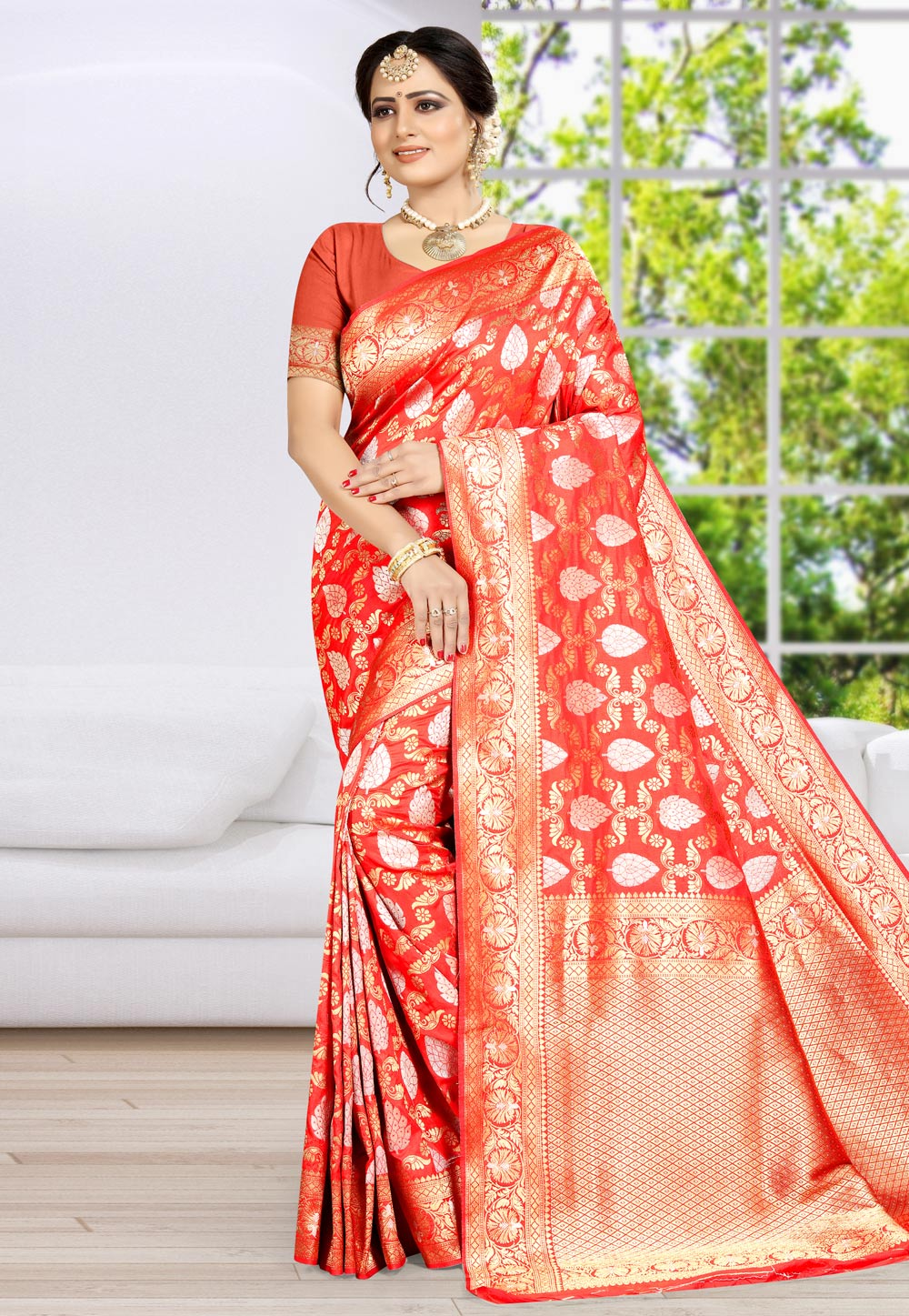 Red Banarasi Silk Festival Wear Saree 203491