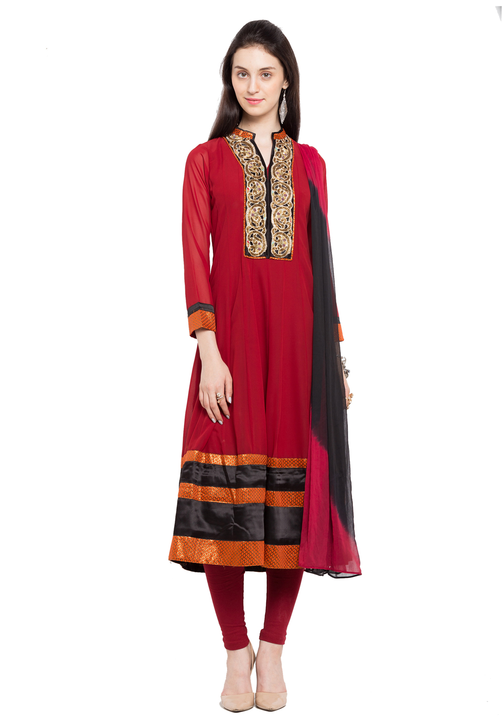 Red Faux Georgette Readymade Anarkali Suit 172697