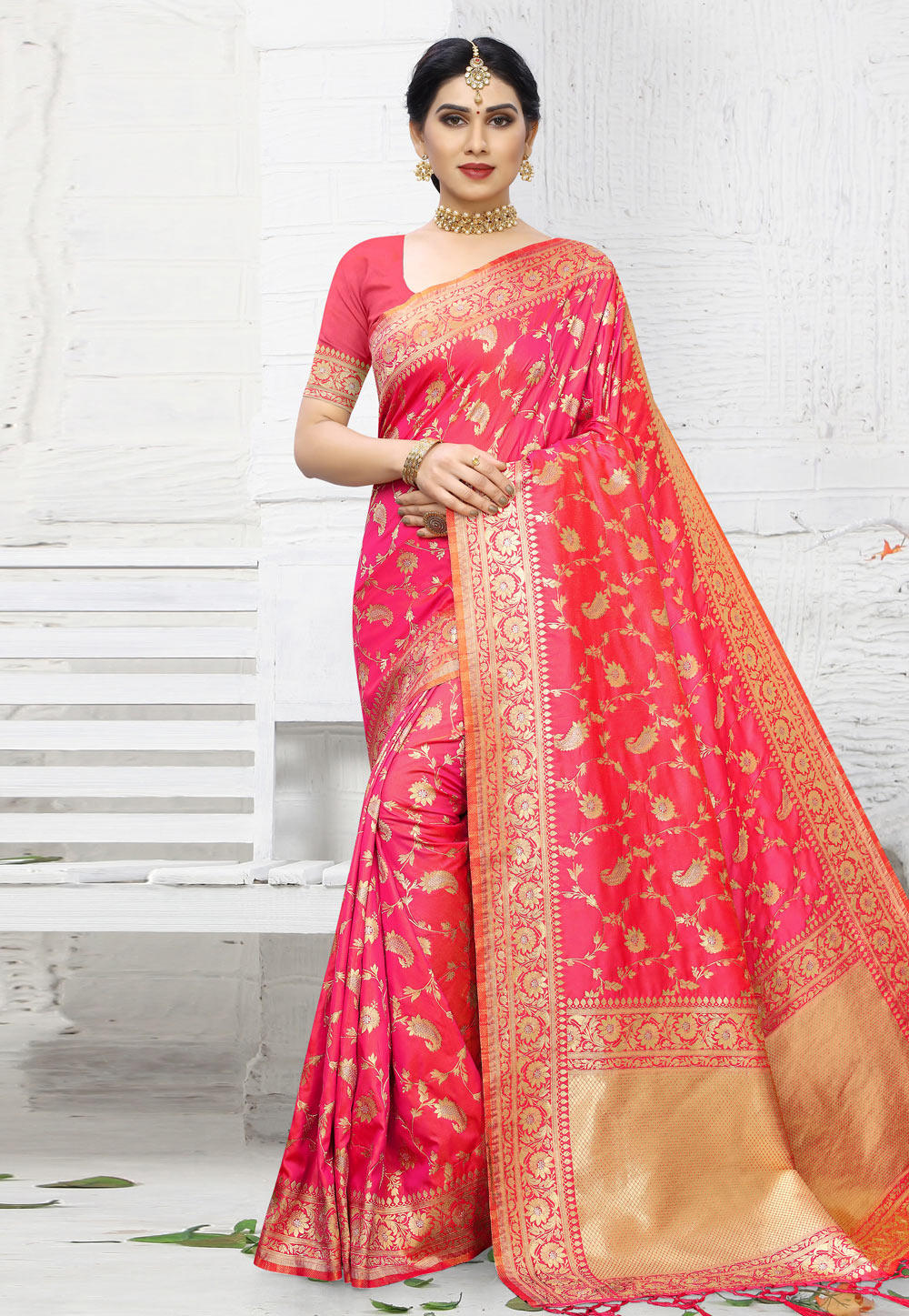 Pink Banarasi Silk Festival Wear Saree 203852