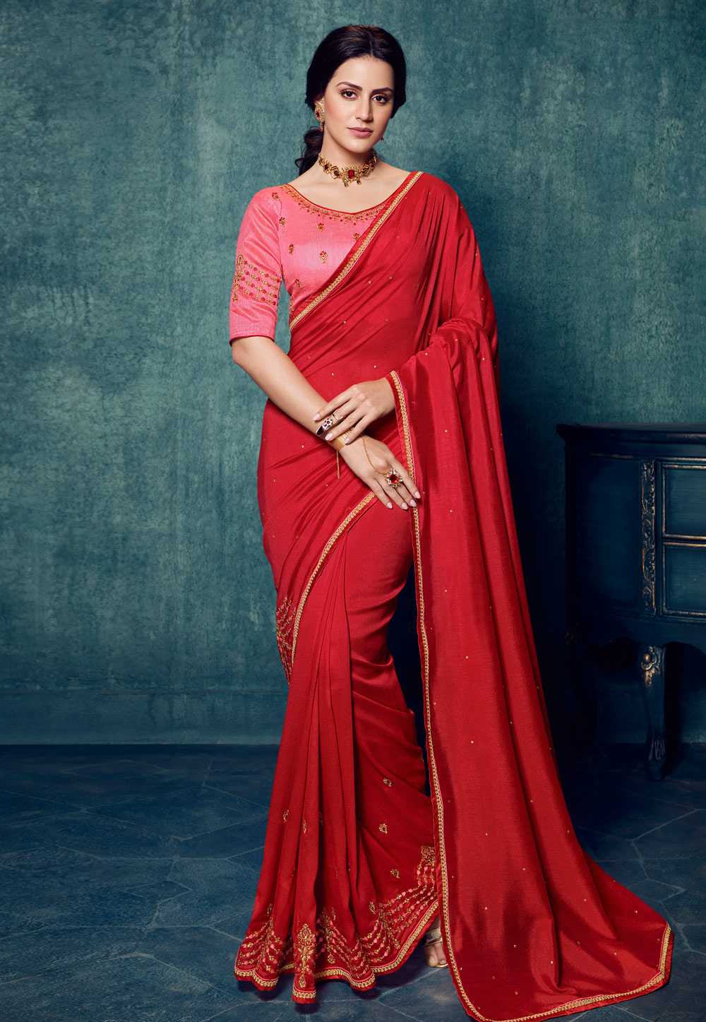 Red Silk Festival Wear Saree 197978