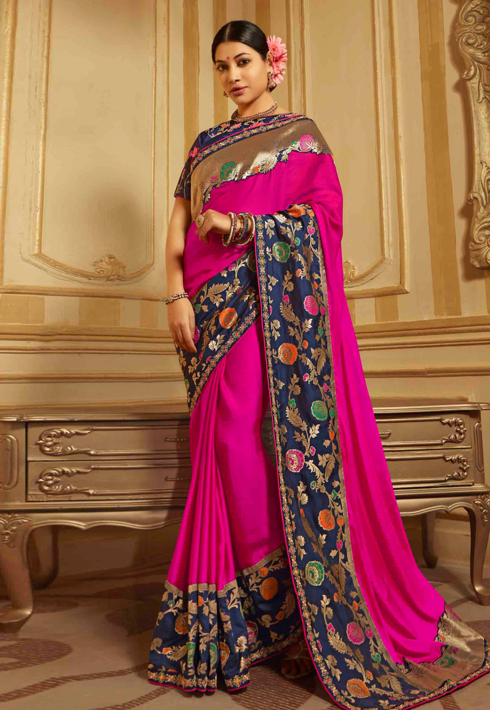 Magenta Barfi Silk Saree With Blouse 190124
