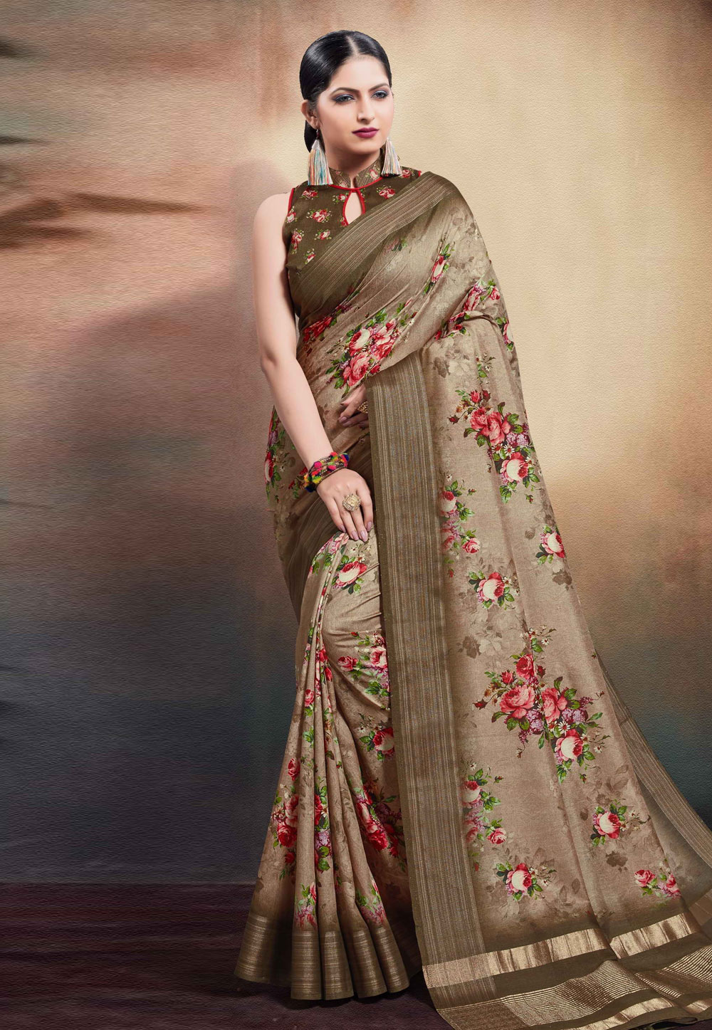 Light Brown Cotton Saree With Blouse 204186