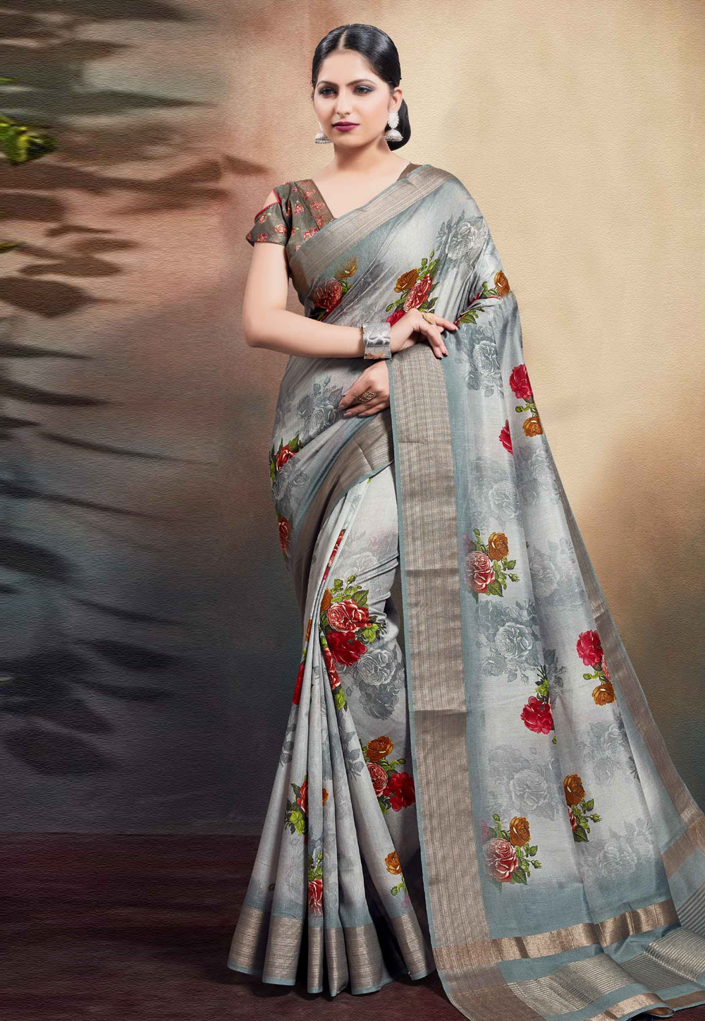 Grey Cotton Saree With Blouse 204192