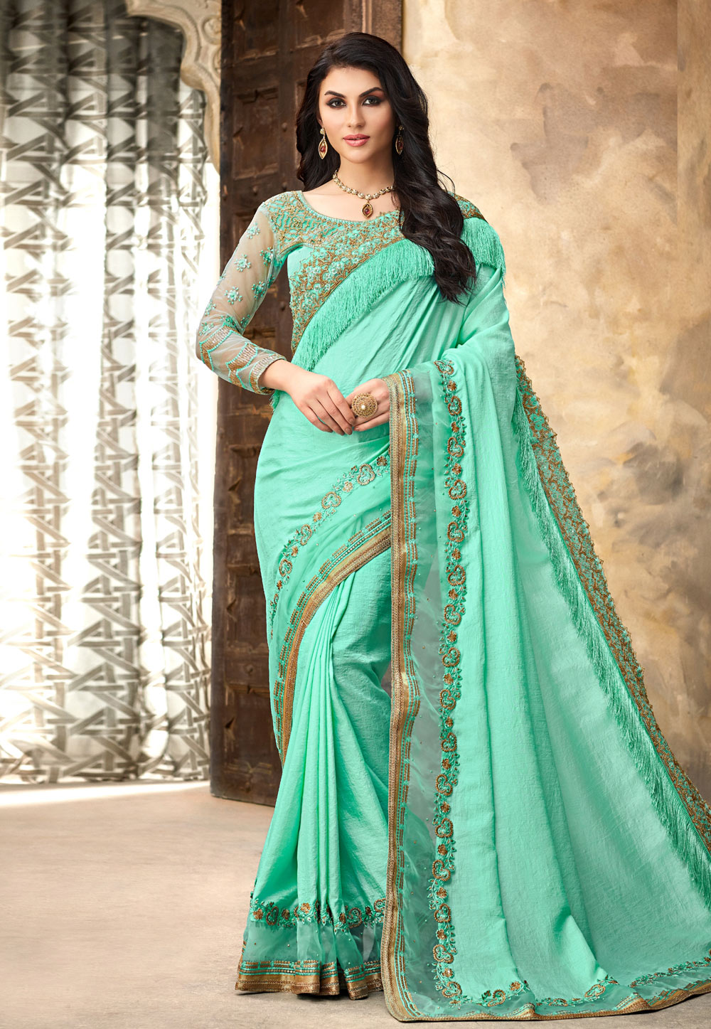 Aqua Silk Saree With Blouse 191186