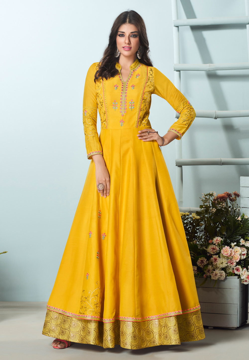 Yellow Muslin Readymade Gown 209038