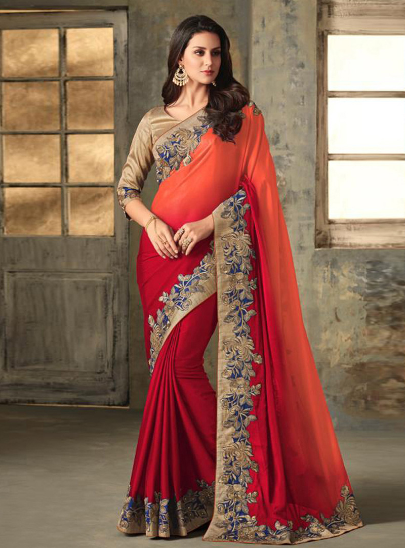 Red Silk Saree With Blouse 150926
