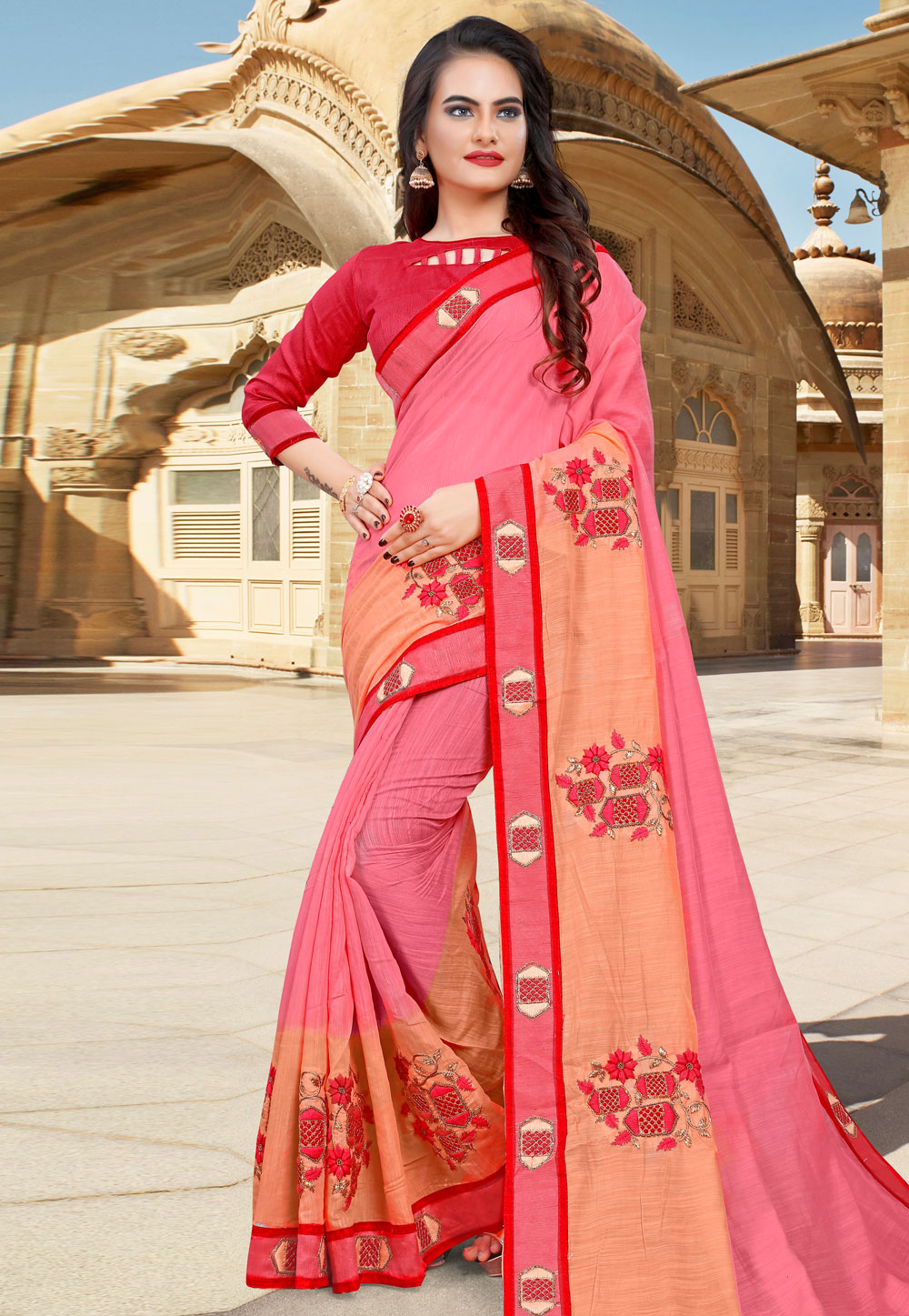 Pink Cotton Saree With Blouse 204546