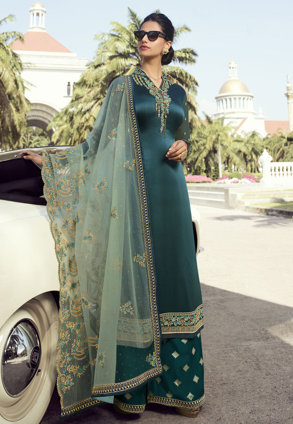 Teal Satin Embroidered Kameez With Palazzo 196939