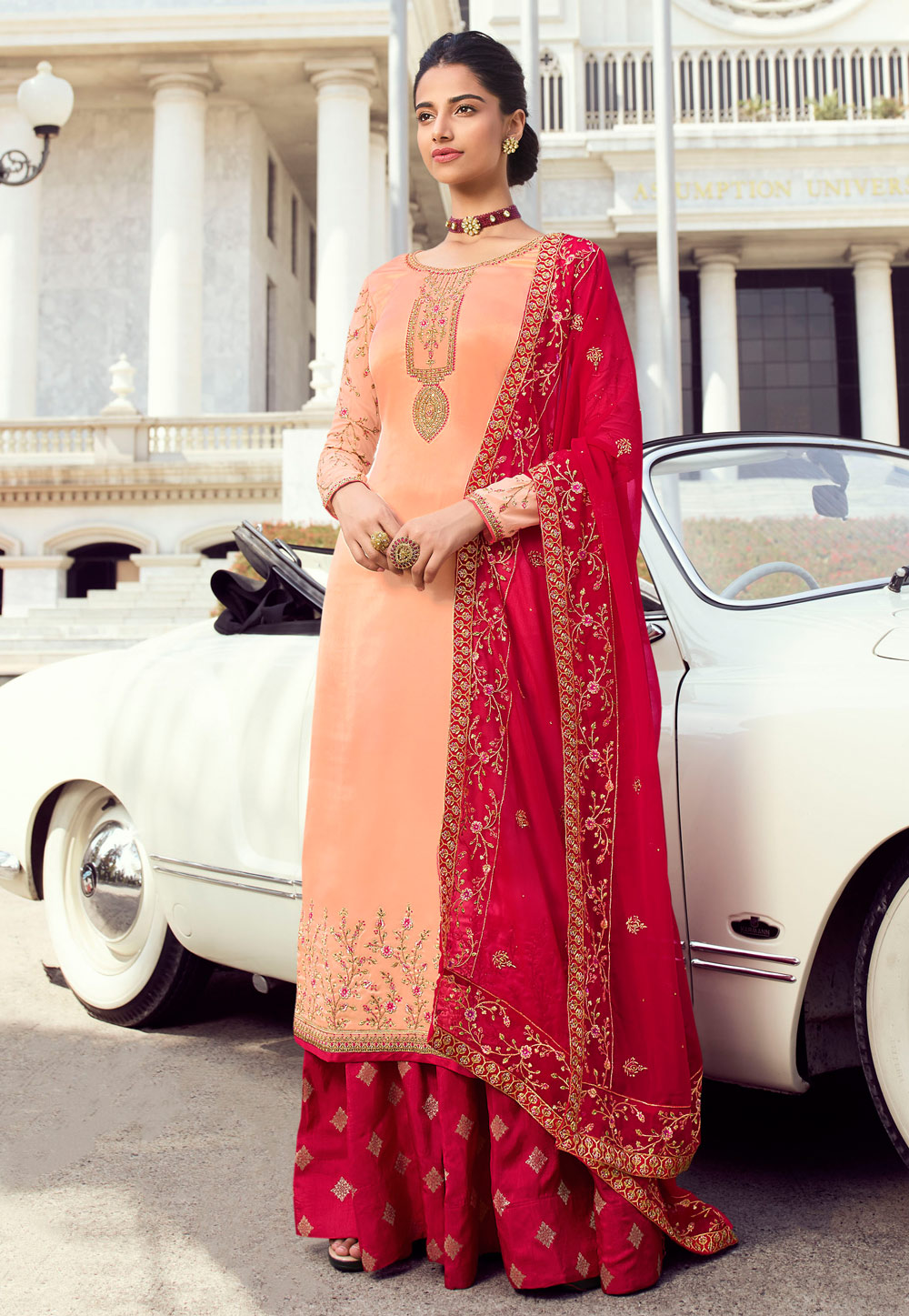 Peach Satin Embroidered Kameez With Palazzo 196941