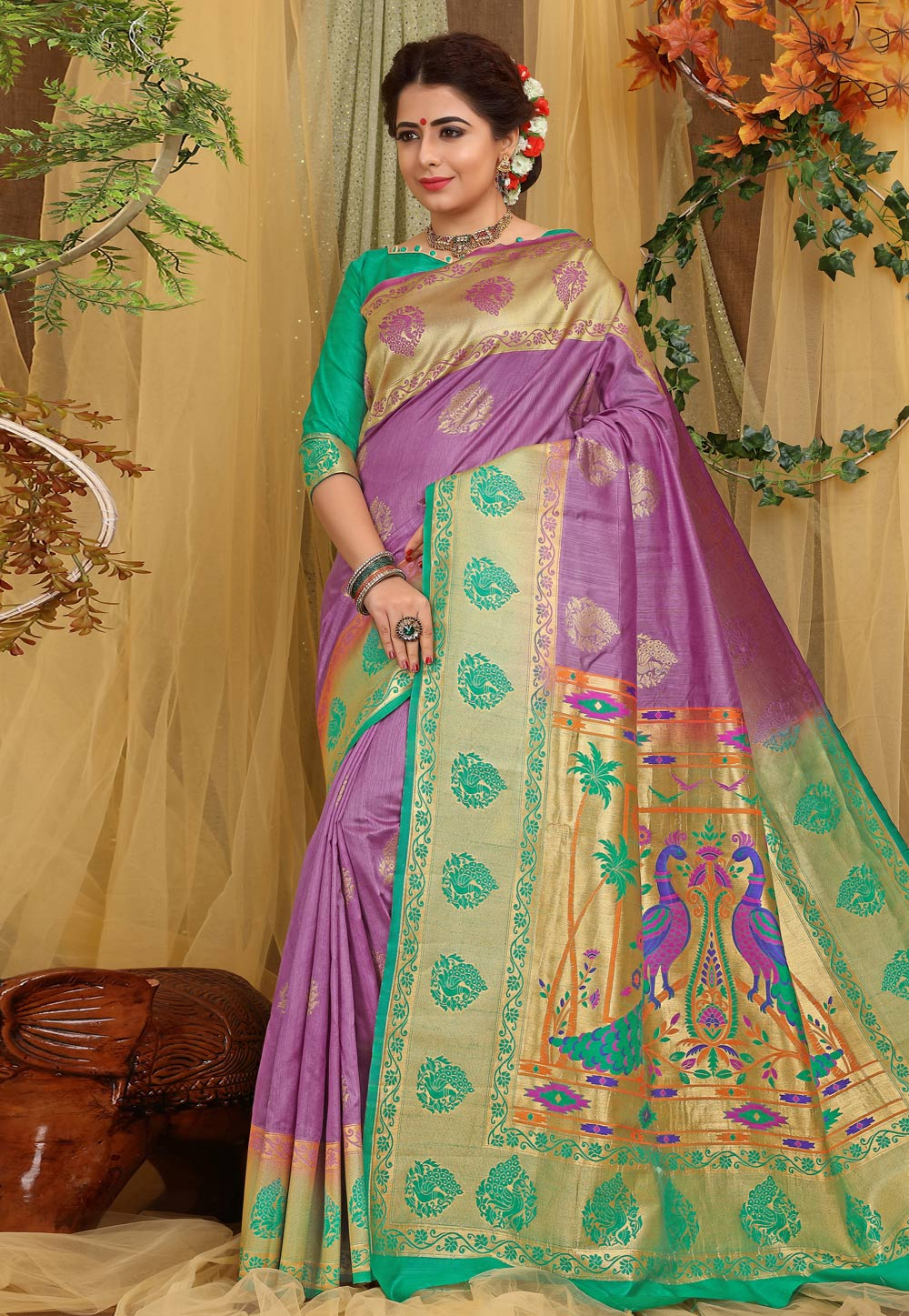 Purple Jacquard Saree With Blouse 168976