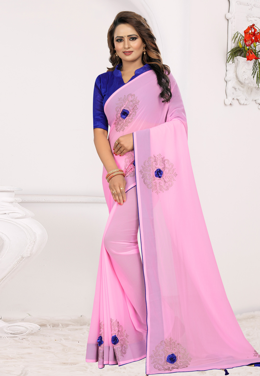 Pink Georgette Saree With Blouse 204913