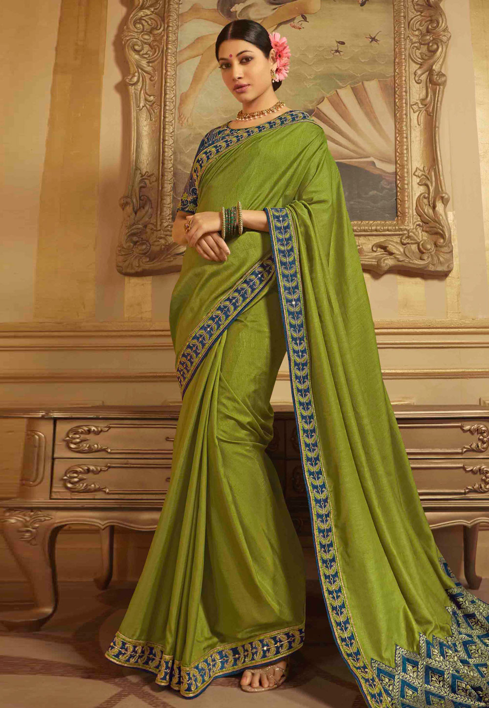 Green Raw Silk Festival Wear Saree 190129