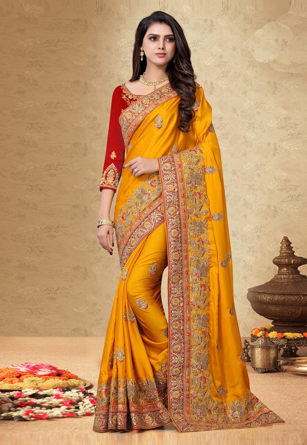 Yellow Satin Georgette Saree With Blouse 204896