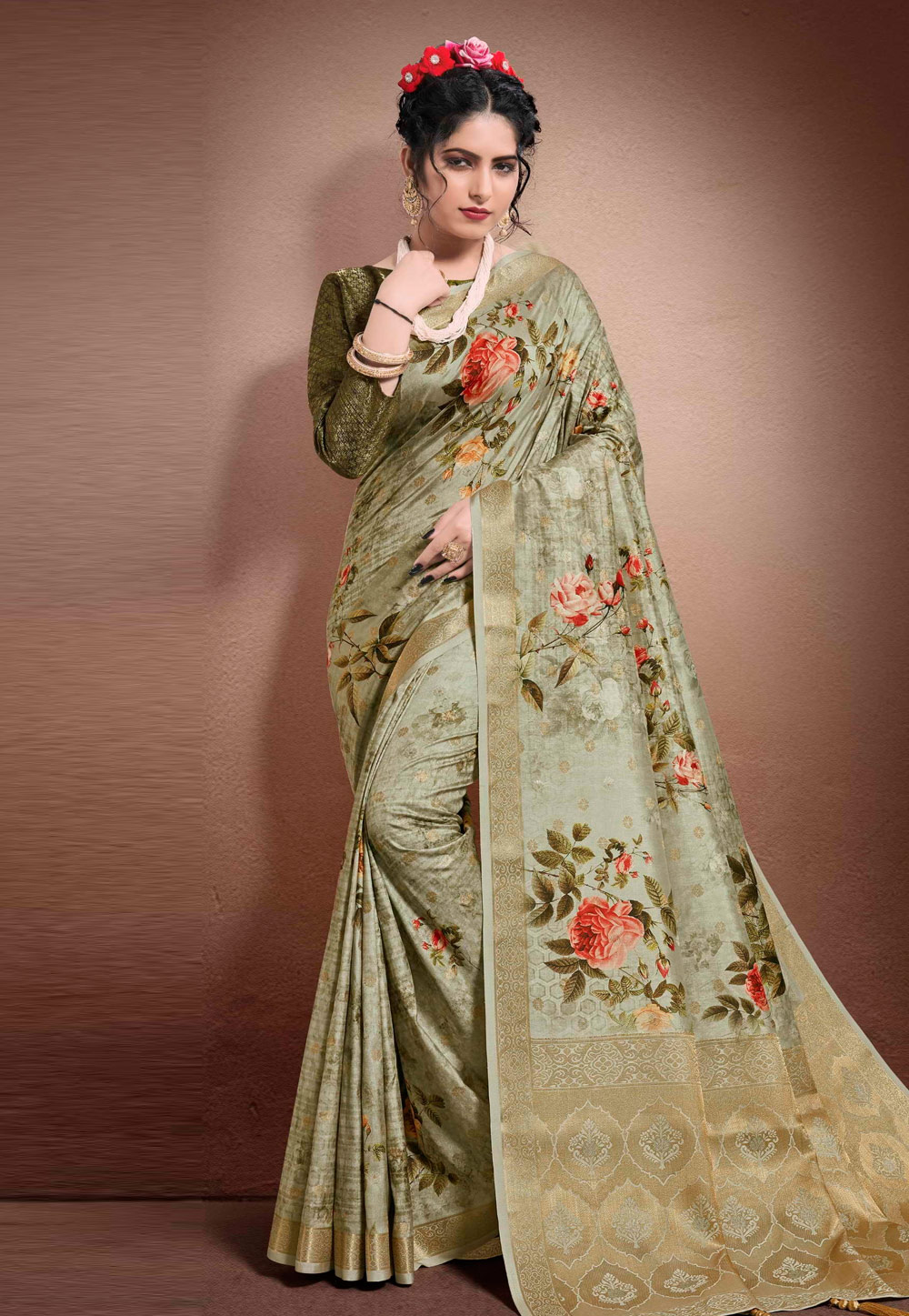 Green Georgette Printed Saree With Blouse 204900
