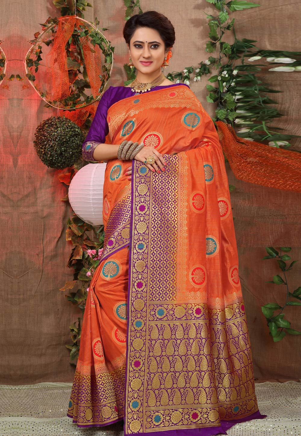 Orange Jacquard Festival Wear Saree 168983