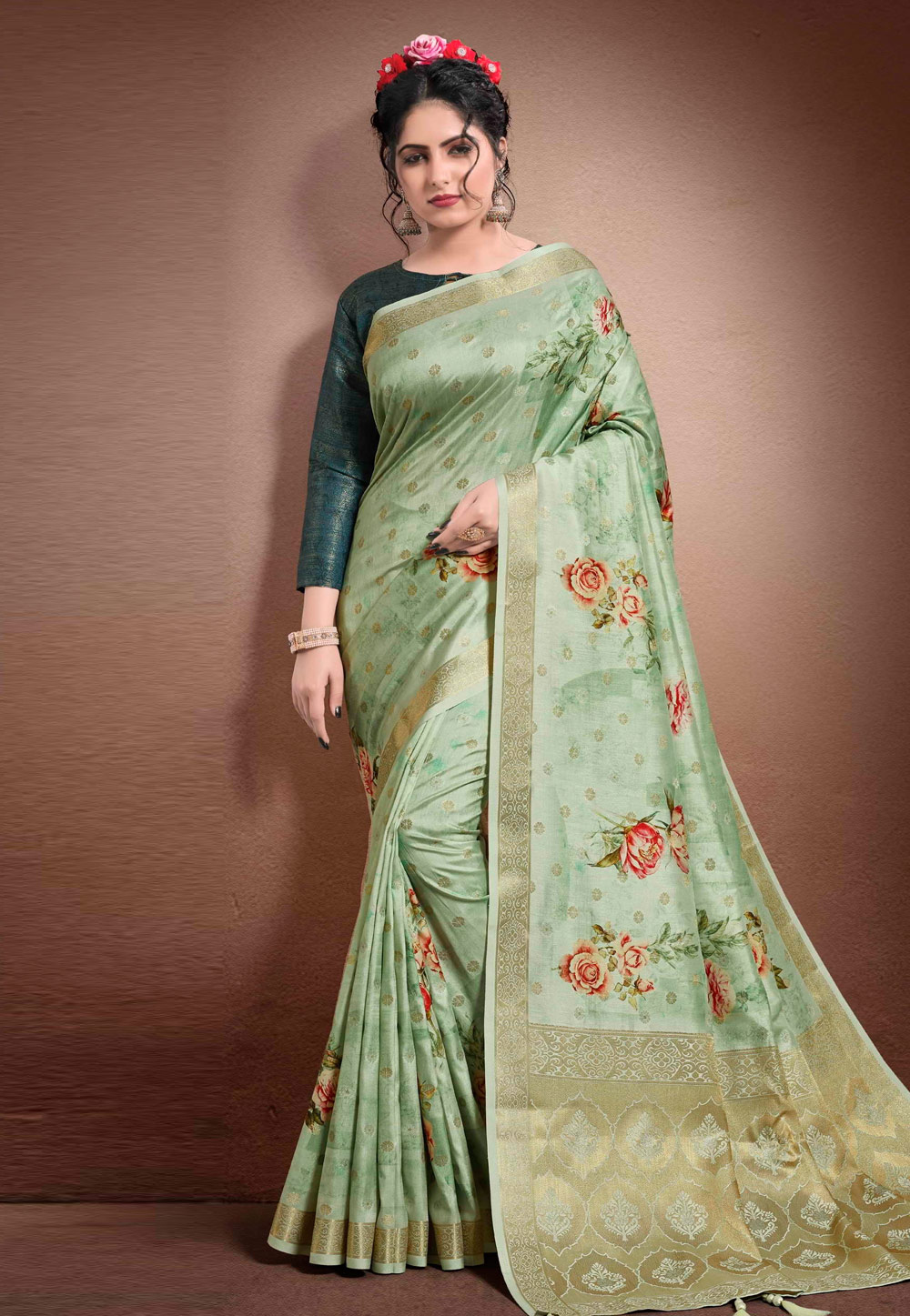 Light Green Georgette Printed Saree With Blouse 204906