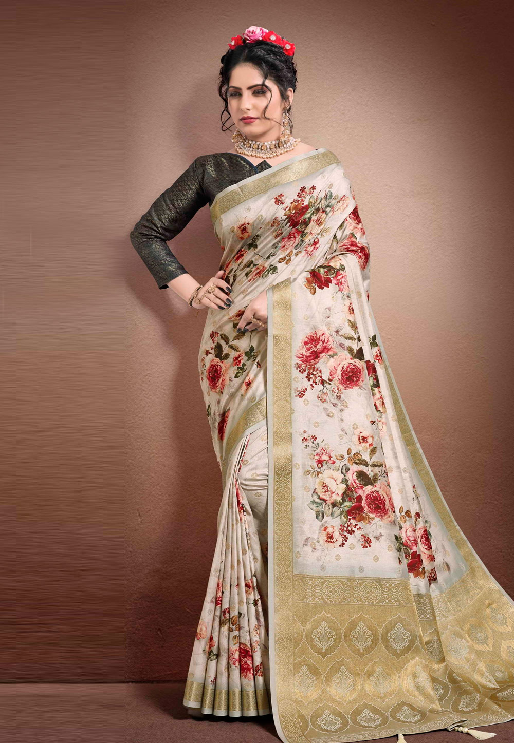 Off White Georgette Printed Festival Wear Saree 204907