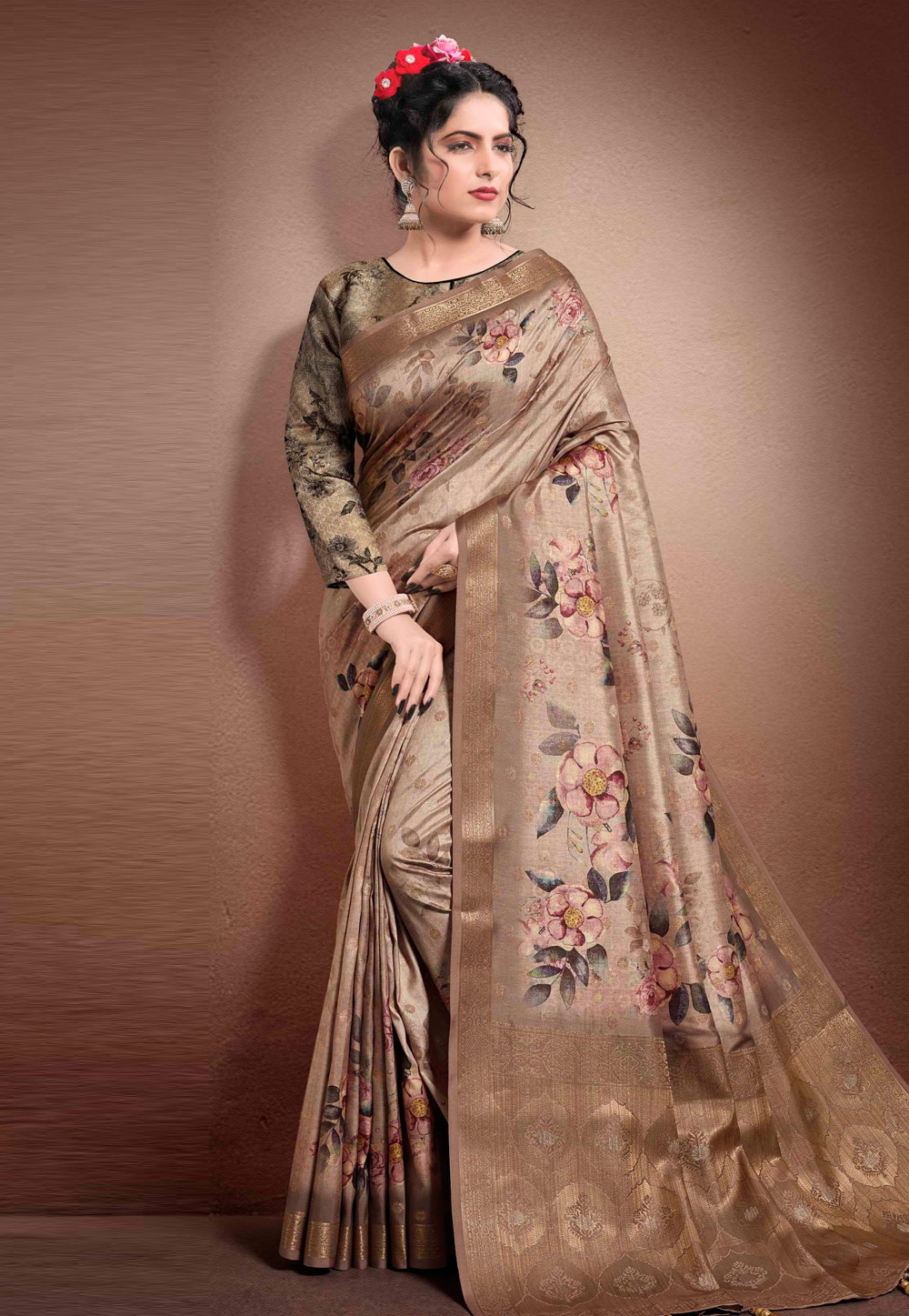 Light Brown Georgette Printed Saree With Blouse 204908