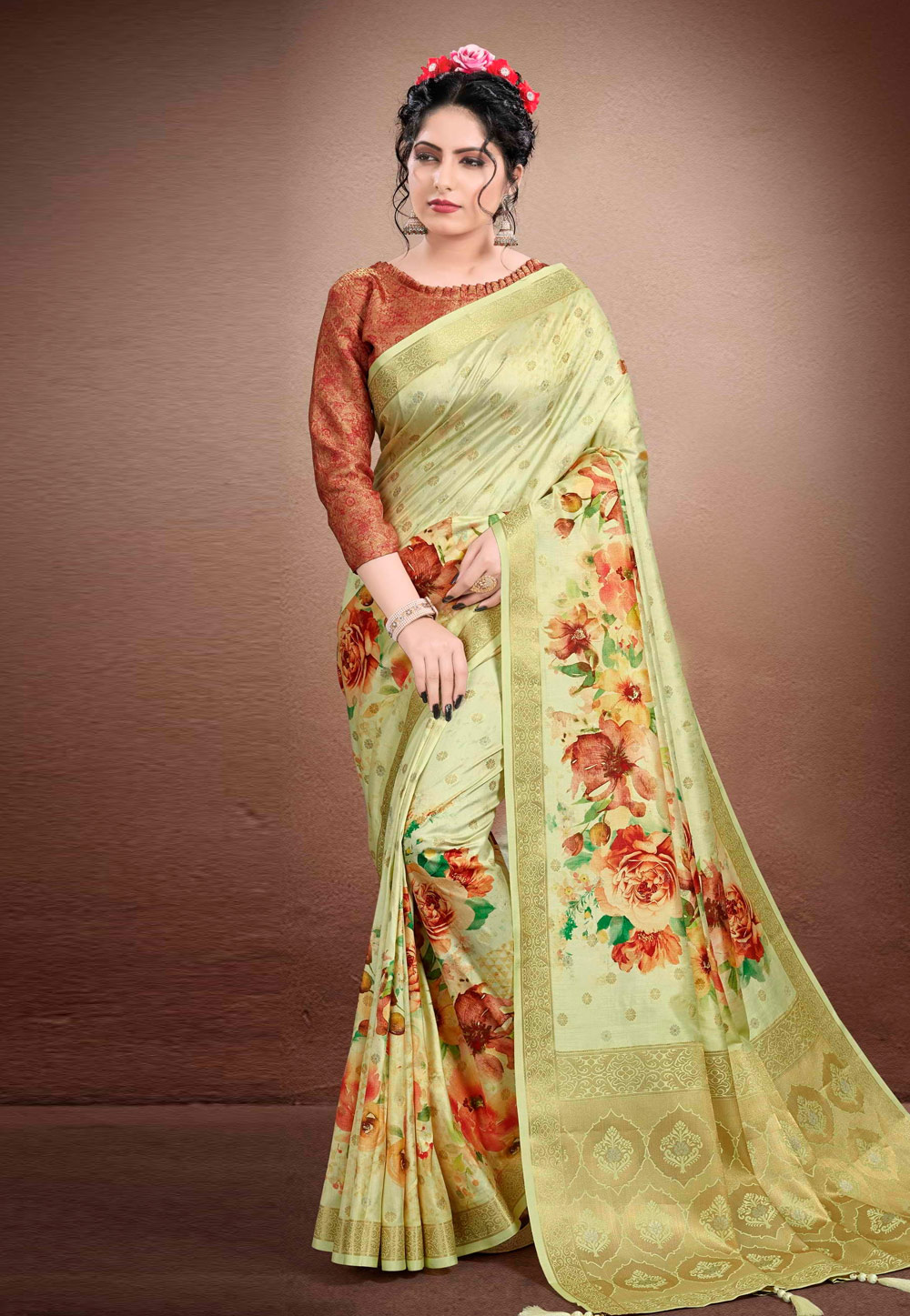 Light Green Georgette Printed Saree With Blouse 204910