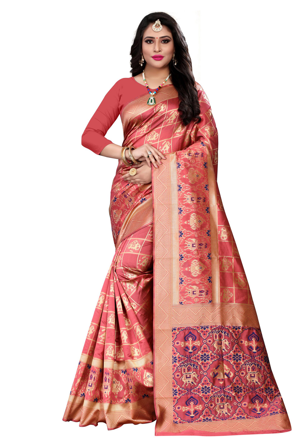 Coral Pink Banarasi Silk Saree With Blouse 199392