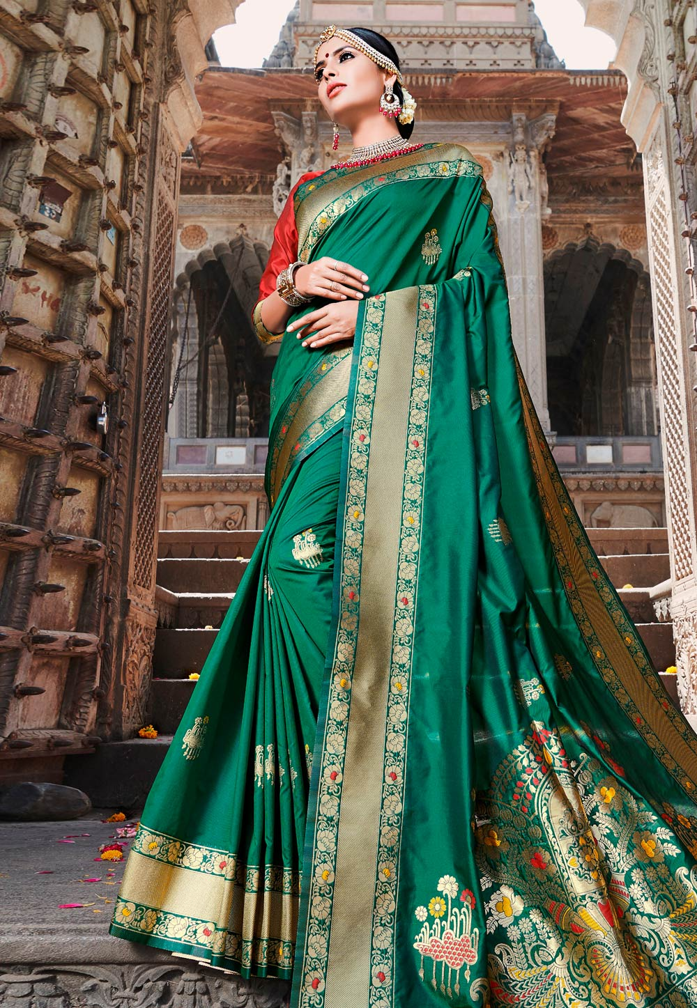 Green Banarasi Silk Saree With Blouse 172097