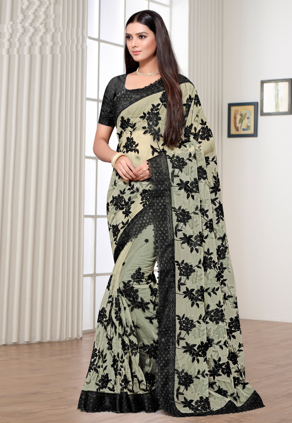 Beige Net Saree With Blouse 205315