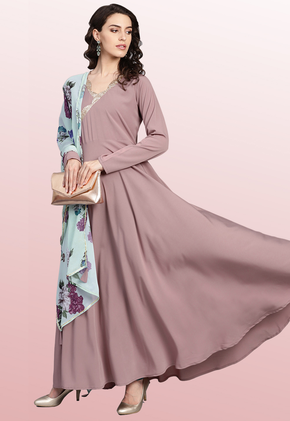 Mauve Polyester Readymade Printed Gown 176682